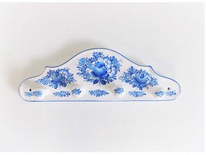 Chodský keramický věšáček - modře malovaný - 1.