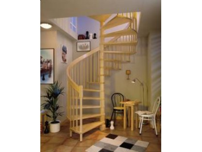 Dřevěné točité schody, borovice, 12 nášlapů - průměr 140 cm