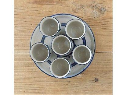 Frťany na talířku, modro-bílá kamenina - 6 ks+talířek