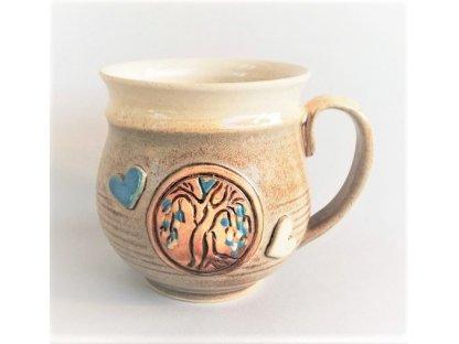 Hrnek 0,5 litru - v barvě bílé kávy - strom lásky - modrý