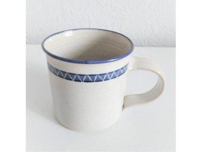 Hrnek na čaj, kávu nebo mléko, modro-bílá kamenina 0,3 l