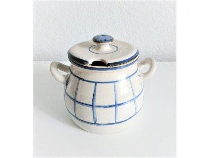 Hrnek na med nebo cukřenka mřížka, modro-bílá kamenina 0,55 l