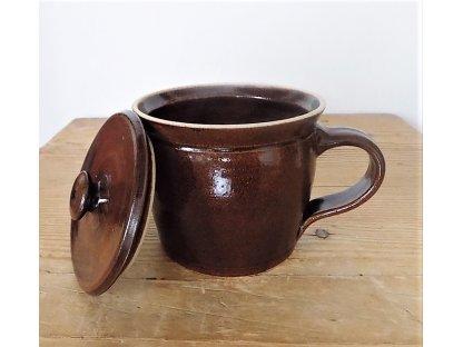 Hrnek s ouškem a pokličkou na sádlo nebo čaj - kamenina