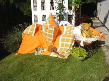 Kanafasové povlečení  Léto + oranž , přikrývka 140x220 + polštář 70x90