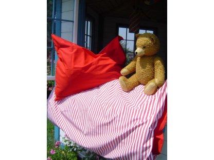 Kanafasové povlečení Míša 1 + červená, přikrývka 140x220 + polštář 70x90