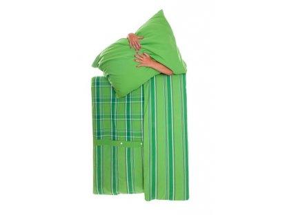 Kanafasové povlečení Zorina K + P + světle zelená , přikrývka 140x220 +polštář 70x90