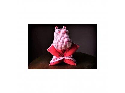 Kanafasový dětský polštářek - hrošík červený