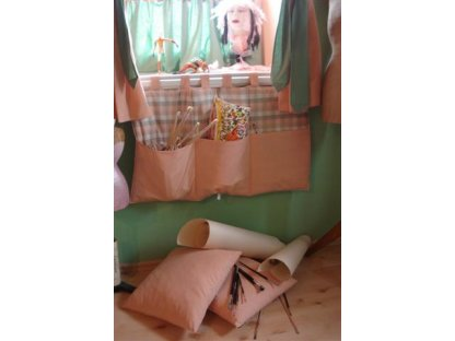 Kanafasový kapsář Milena K+losos, 90x50 cm