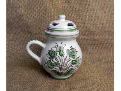 Keramická aroma lampa baňatá, zelenobílá