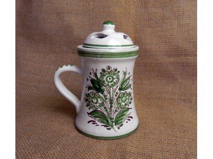 Keramická aroma lampa štíhlá, zelenobílá