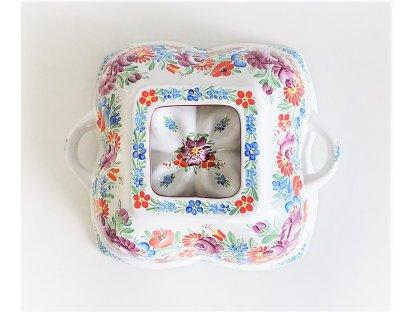 Keramická bábovka chodská, malovaná - čtyřlístek