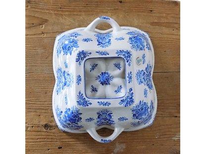 Keramická bábovka chodská, malovaná modře 2. - čtyřlístek