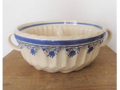 Keramická bábovka - forma - bílá - modrý pruh a tulipány