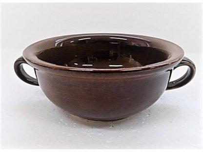 Keramická bujonka na polévku nebo guláš, hnědá lesk, 0,4 l