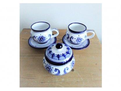 Keramická čajová souprava, modrobílá
