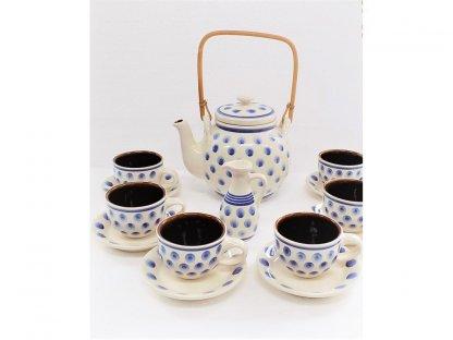 Keramická čajová souprava s puntíky - 1.