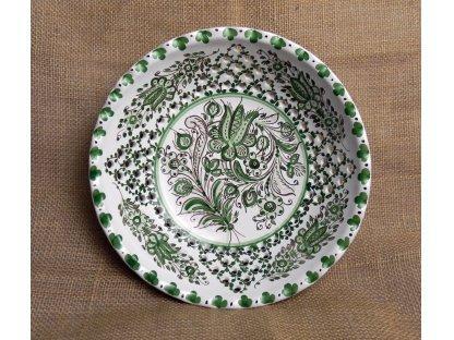 Keramická dírkovaná miska s vlnkou, zeleno-bílá