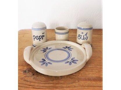 Keramická dochucovací souprava - pepř, sůl, párátník