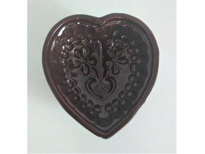 Keramická forma na bábovku srdce - hnědá