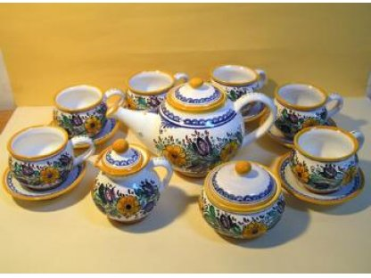 Keramická habánská čajová souprava