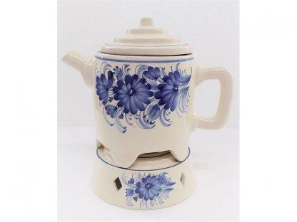 Keramická konvice na čaj s ohřevem na svíčku, květy