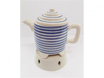 Keramická konvice na čaj s ohřevem na svíčku, pruhy