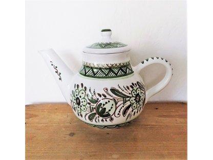 Keramická konvice na čaj, zeleno-bílá