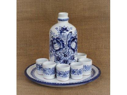 Keramická likérová souprava - modrobílá