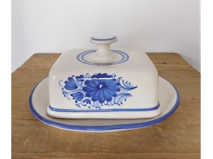 Keramická máslenka hranatá, modré květiny 3.