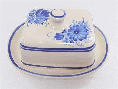 Keramická máslenka hranatá, modré květiny 6.