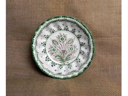 Keramická miska karbovaná, zeleno-bílá