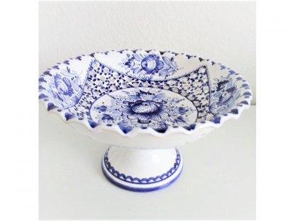 Keramická miska na stopce modrobílá - jemný řez, modro-bílá růže