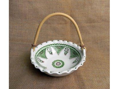 Keramická miska s ratanovým uchem - malá, zelenobílá