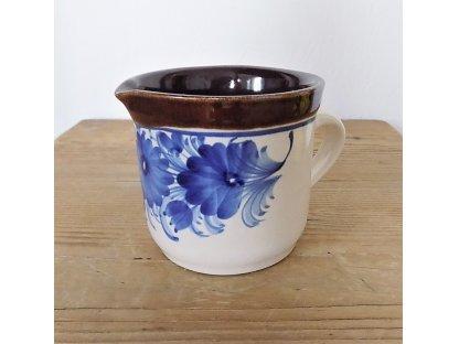 Keramická mléčenka, modré květy 0,3 l