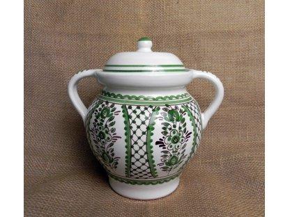 Keramická nádoba na sádlo, zeleno-bílá