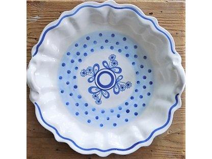 Keramická pečící forma na koláč modrá s hnědou - 14 - mašle a puntíky