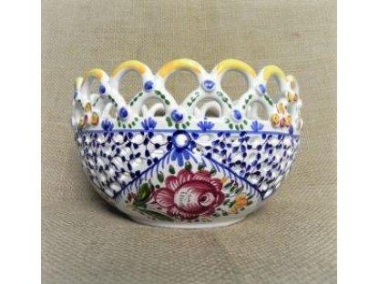 Keramická řezaná miska - dvě krajky, slovácká
