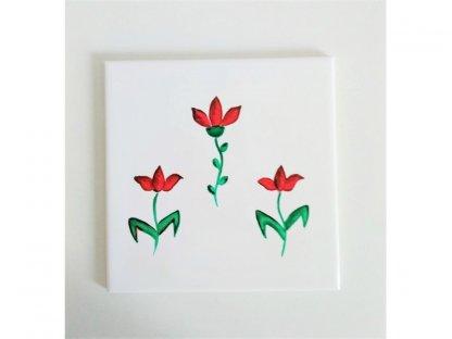 Keramická, ručně malovaná kachle - červené květy - 6.
