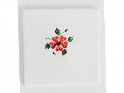 Keramická, ručně malovaná kachle - červený květ - 5