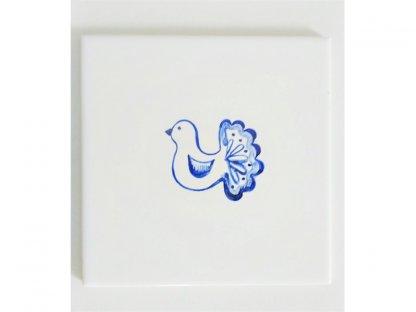 Keramická, ručně malovaná kachle - holubička - 1