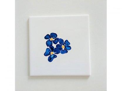 Keramická, ručně malovaná kachle - květy fialek  - 9.
