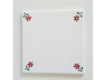Keramická, ručně malovaná kachle - kvítka v rohu - 3