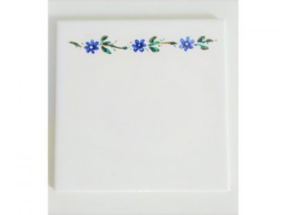 Keramická, ručně malovaná kachle - modré květy - 2