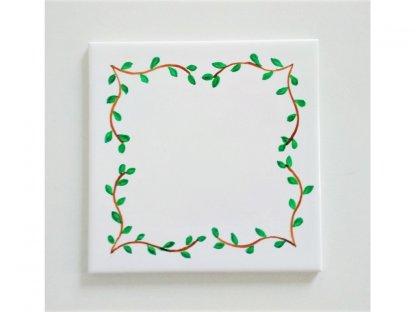 Keramická, ručně malovaná kachle - zelené lístky - 10.