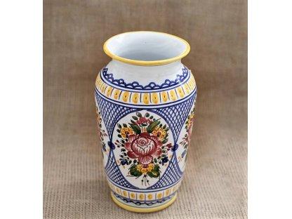 Keramická váza květy, slovácká rovná