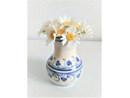 Keramická váza modrý proužek a kytky