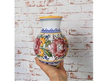 Keramická váza slovácká červené růže
