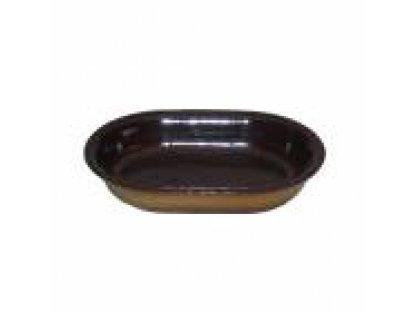 Keramická zapékací mísa střední délka 24,5 cm, šířka 16,5 cm, obsah 0,55 litru.