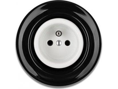 Keramická zásuvka černobílá STIGMA  - 70