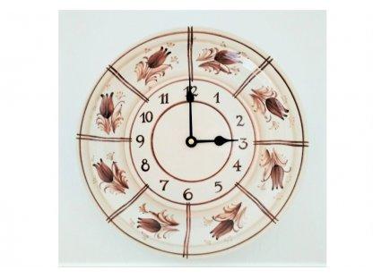 Keramické hodiny hnědé květy HR - průměr 26 cm